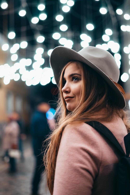 woman in gray hat
