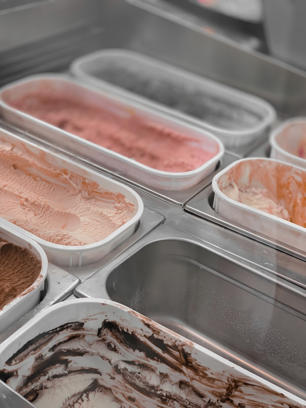 boxes of ice cream on display case