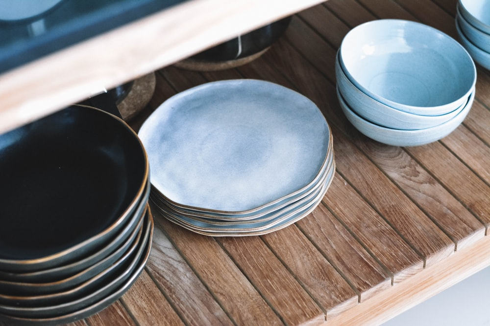 plates and bowls on rack