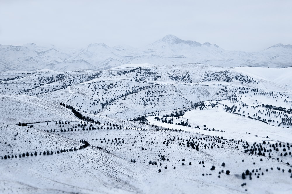 aerial photograph of mountain ranges