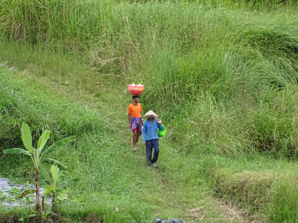 men walking on hills