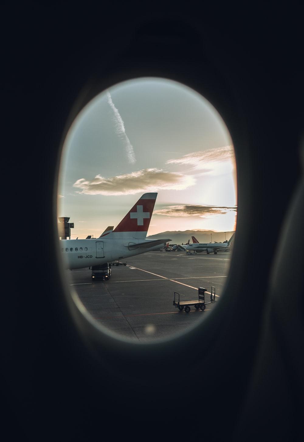 white plane on runway