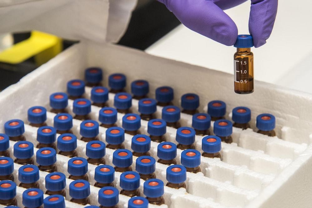 amber glass bottle lot on box