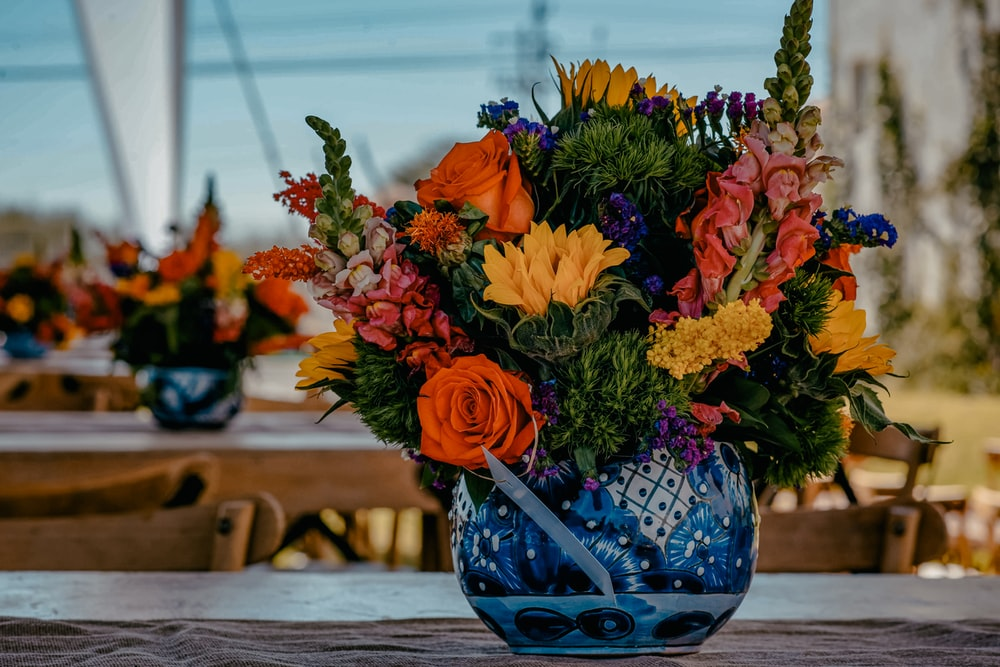 yellow, orange, and pink flower arrangement in blue floral vase photo – Free Plant Image on Unsplash