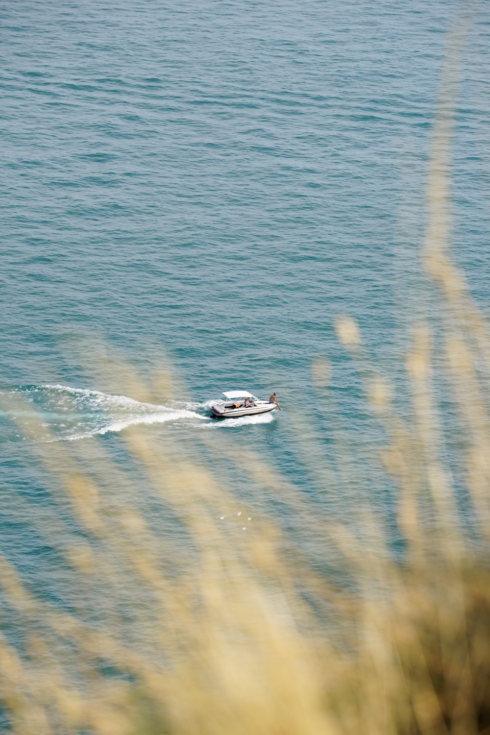 top view of boat in sea