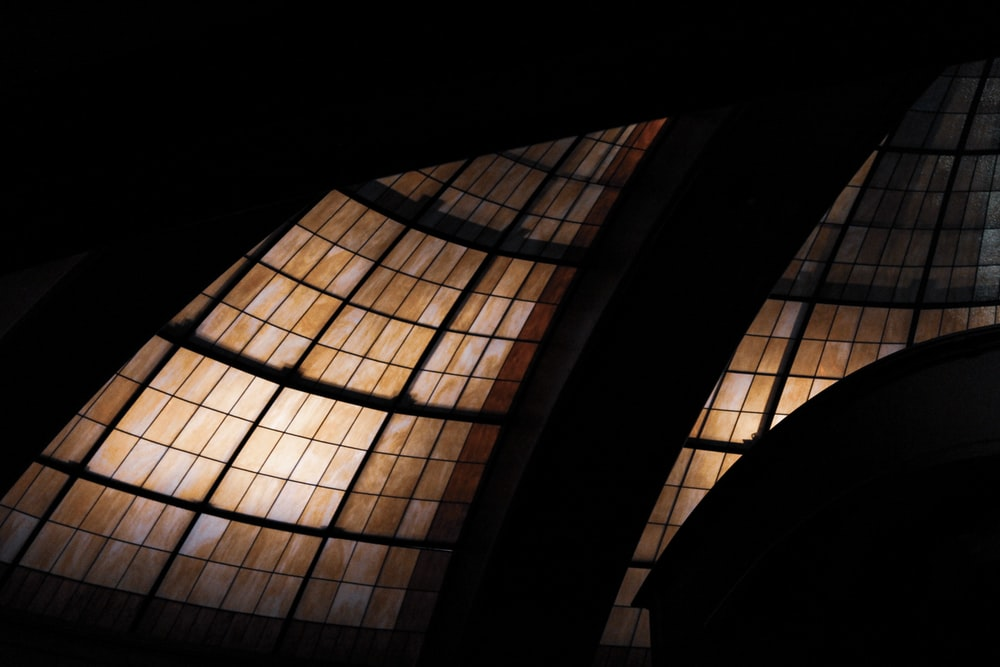 silhouette photography of black and brown glass dome ceiling