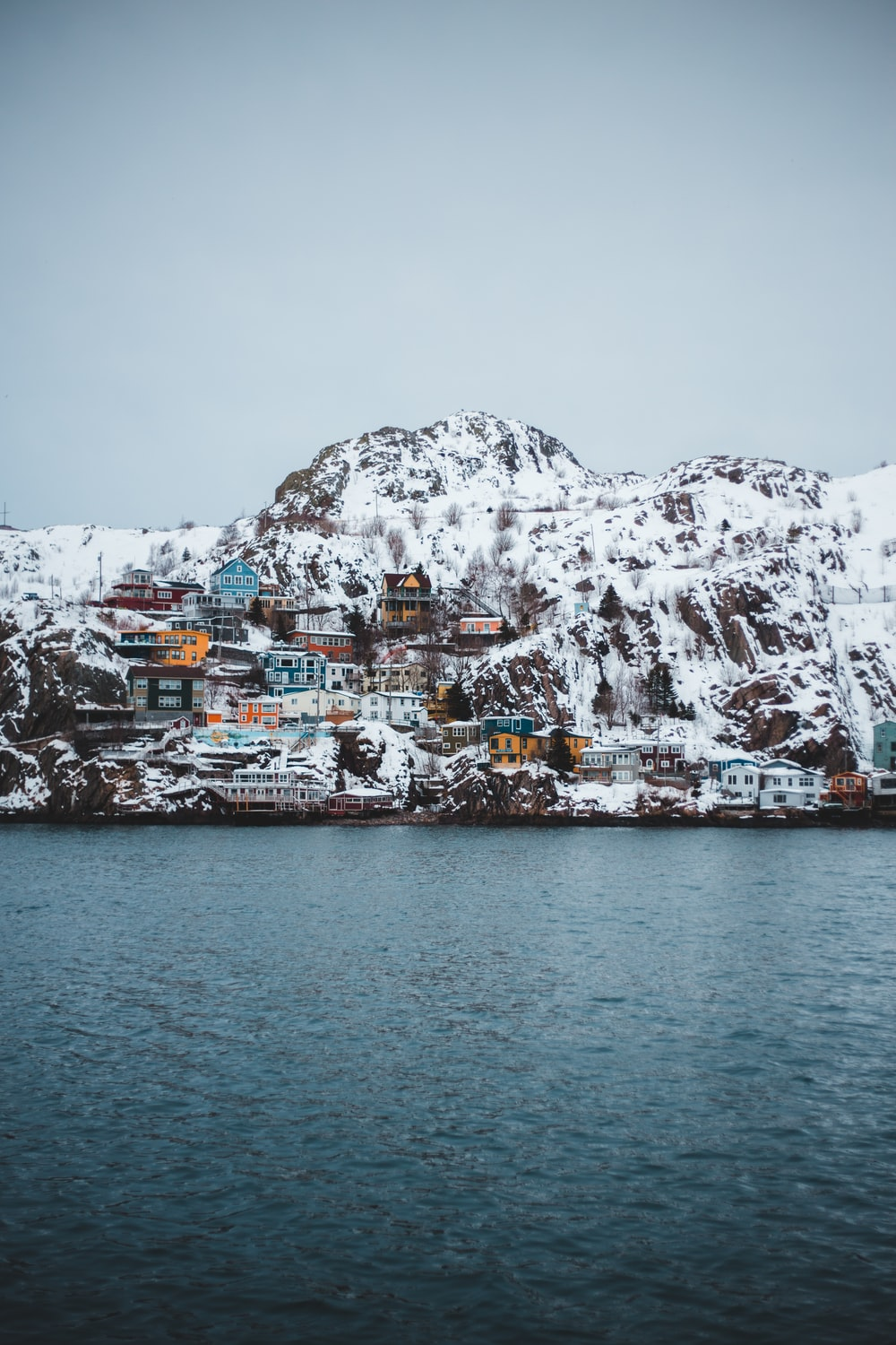 houses on cliff viewing body of water during daytime