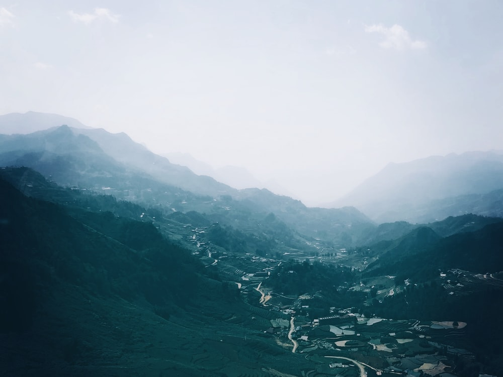 mountains covered with mist