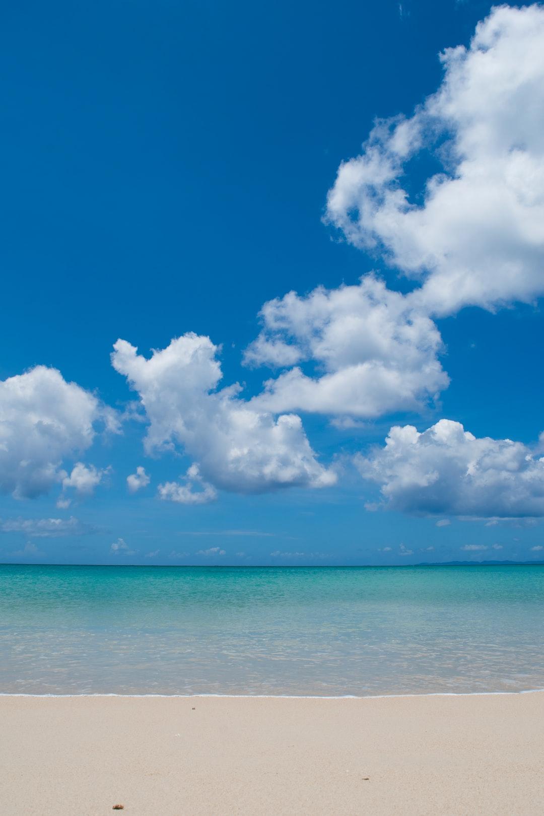 A beach with blue sky in Okinawa Japan
