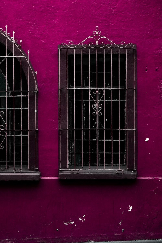 black and grey metal window frame