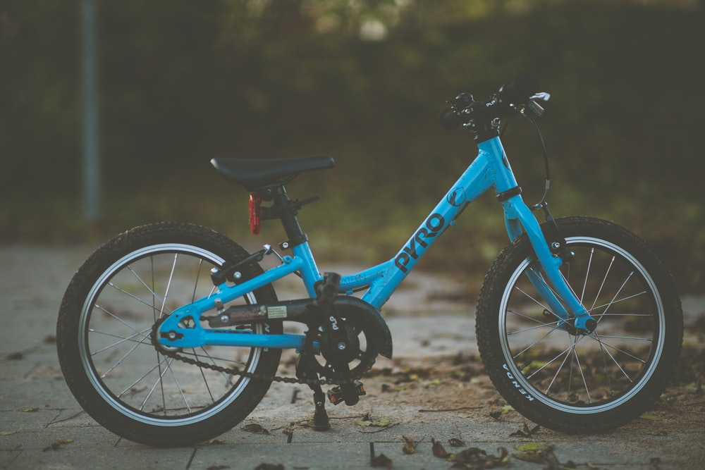 parked blue bike