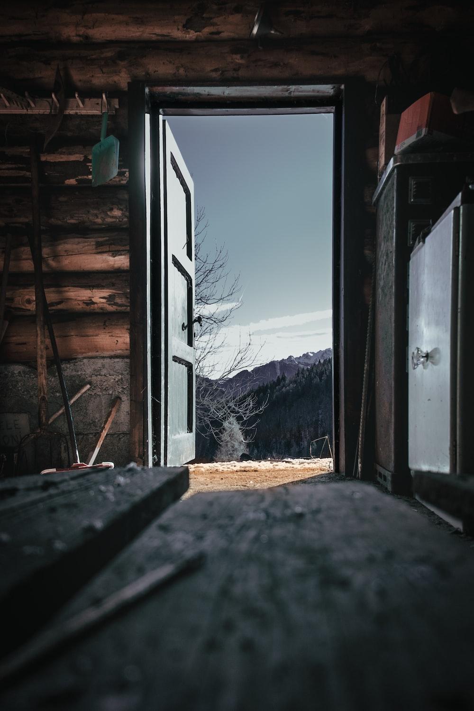 opened door of a cabin