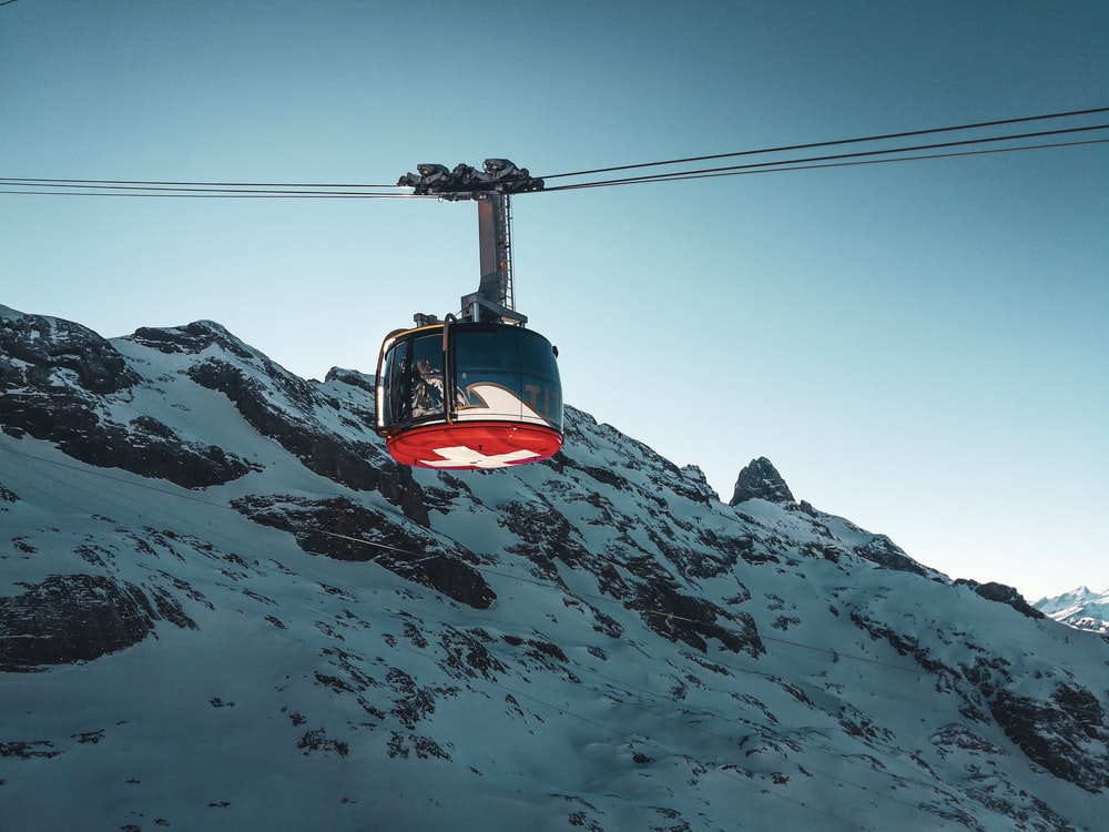 black and red cable car