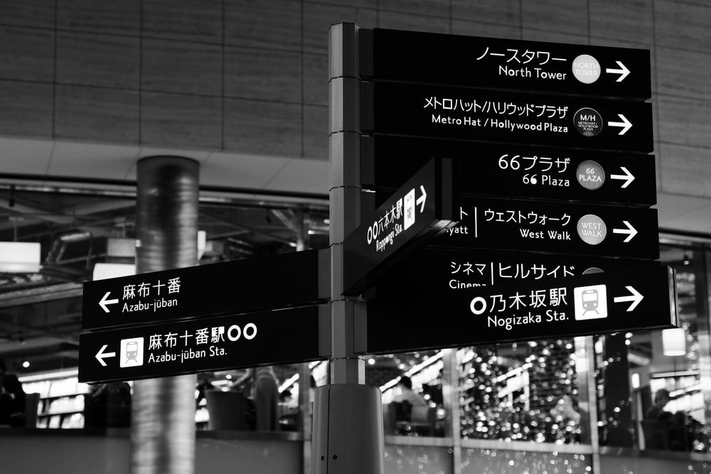 grayscale photography of street signage