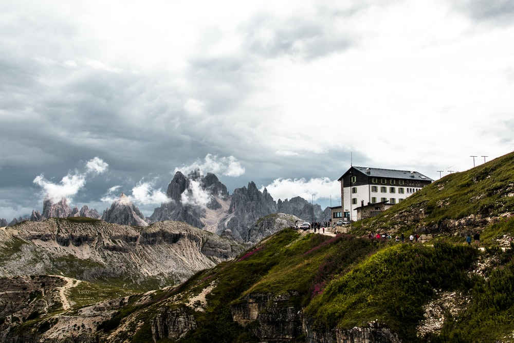 white house on the mountain photograph