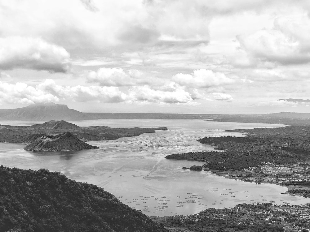 grayscale photography of Taal volcano