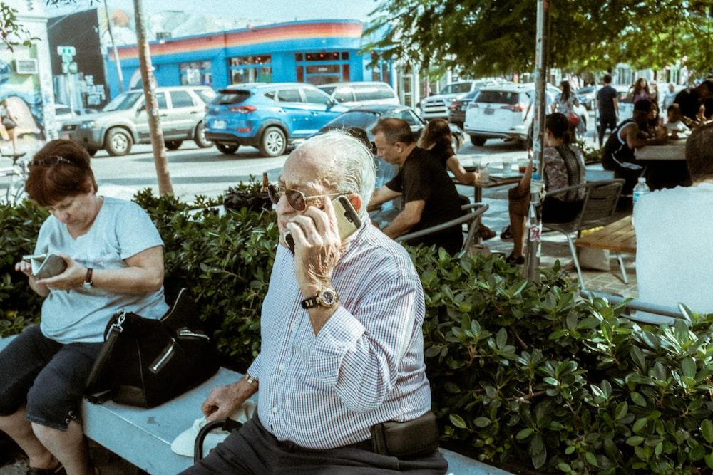 man calling using smartphone
