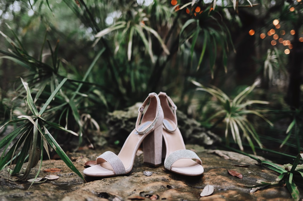 pair of silver open-toe ankle-strap heeled sandals near green leaf plant