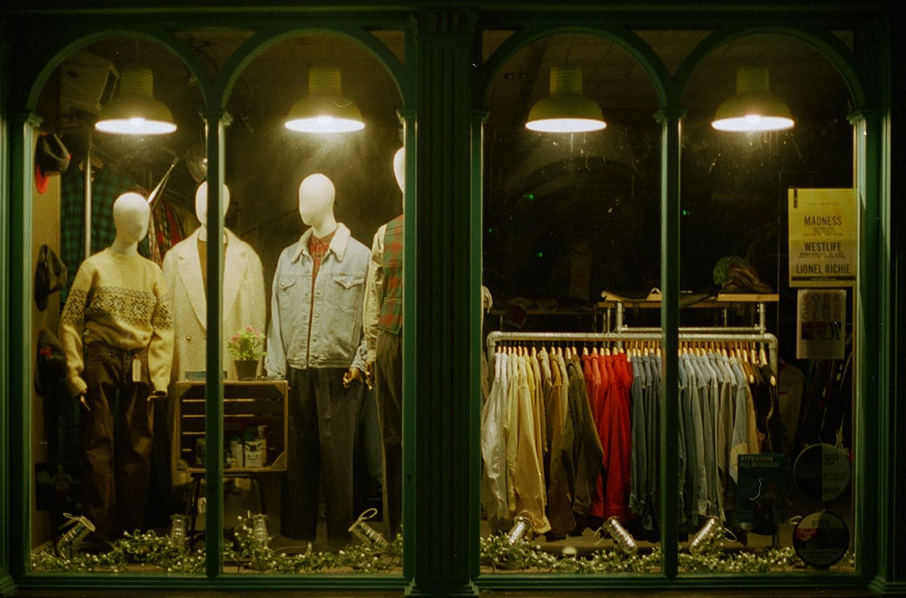 clothes displayed inside a store