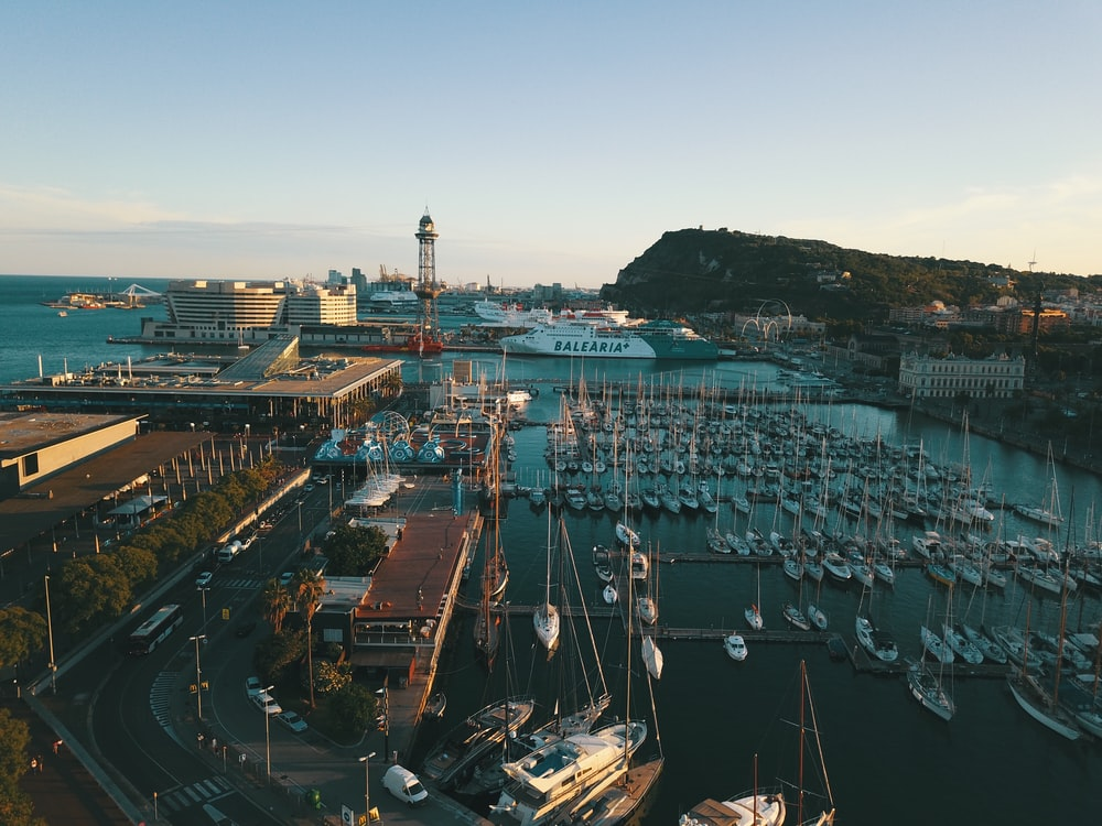 aerial photo of port