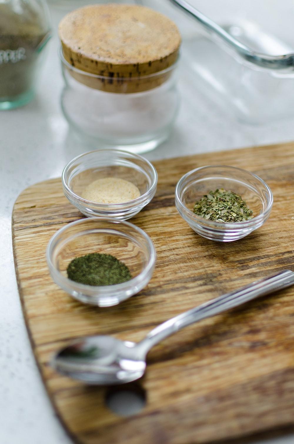 green powder in clear glass bowl