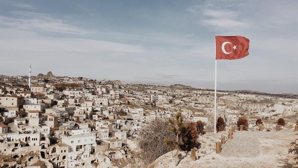 flag of Turkey on pole