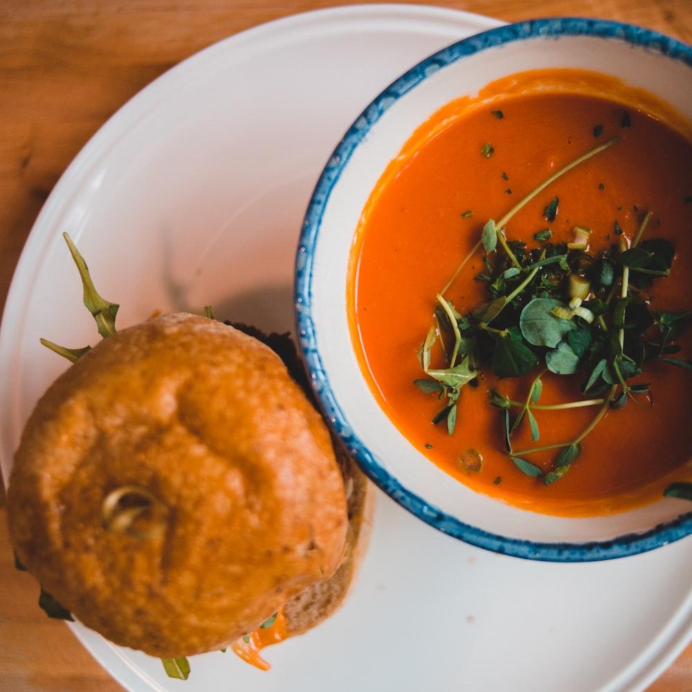 burger and squash soup