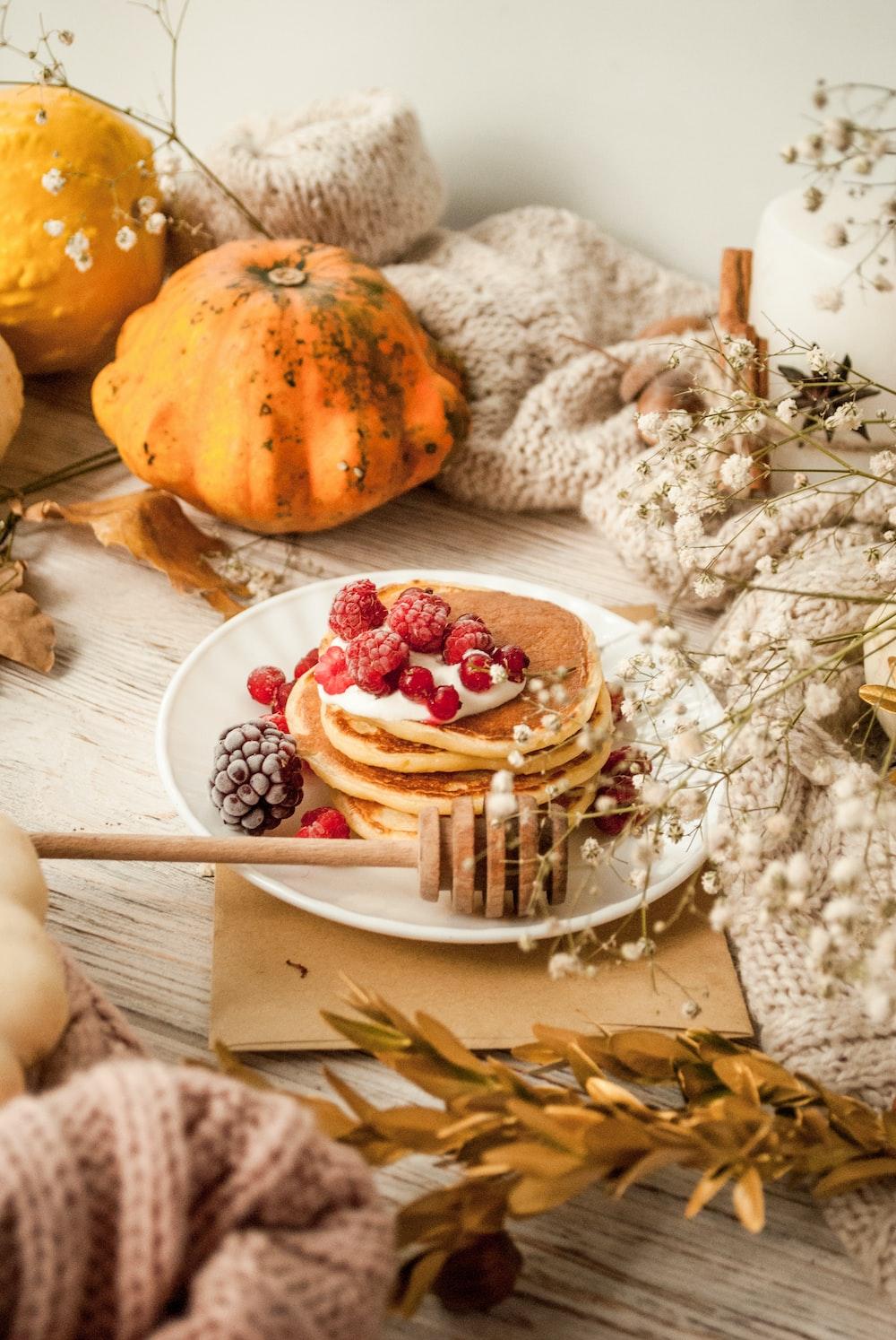 pancake with raspberries