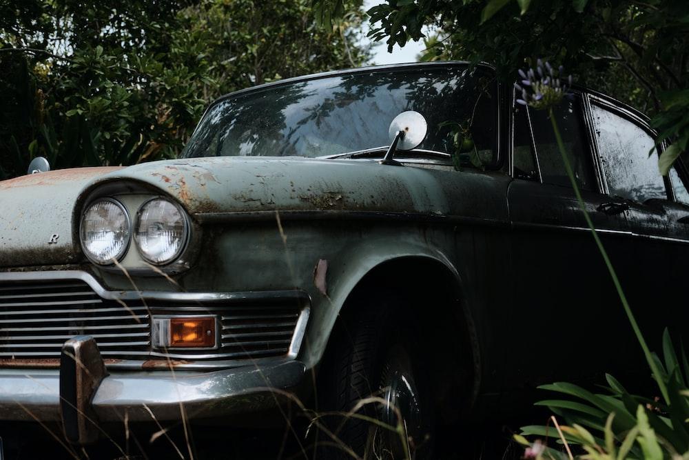 grey vintage car