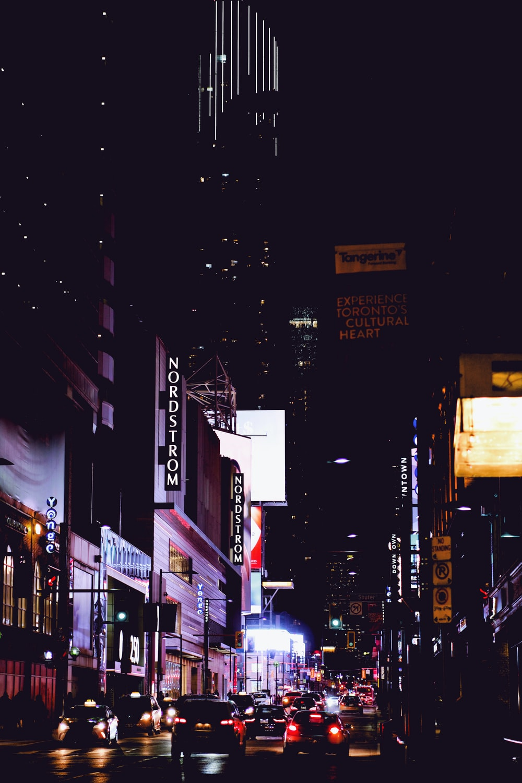 vehicles on street at night
