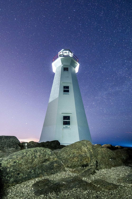white lighthouse photograph