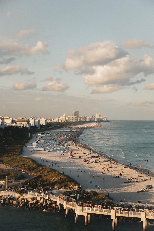 bird's eye photography of city near shoreline and body of water