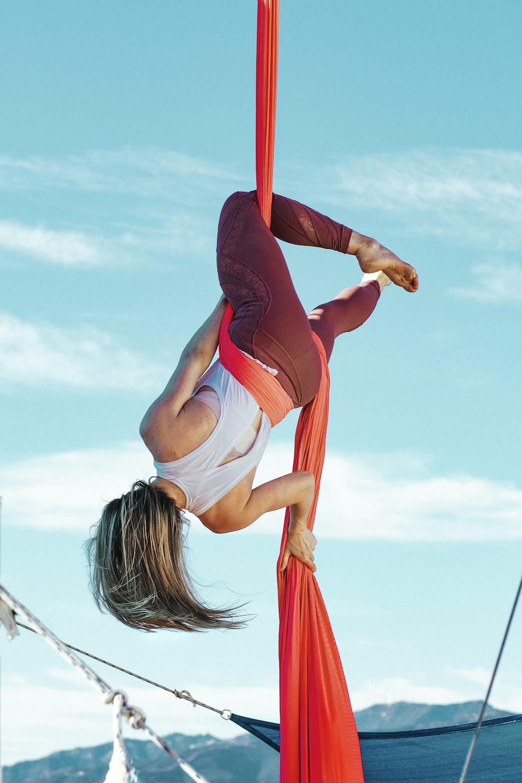 woman doing acrobatic yoga