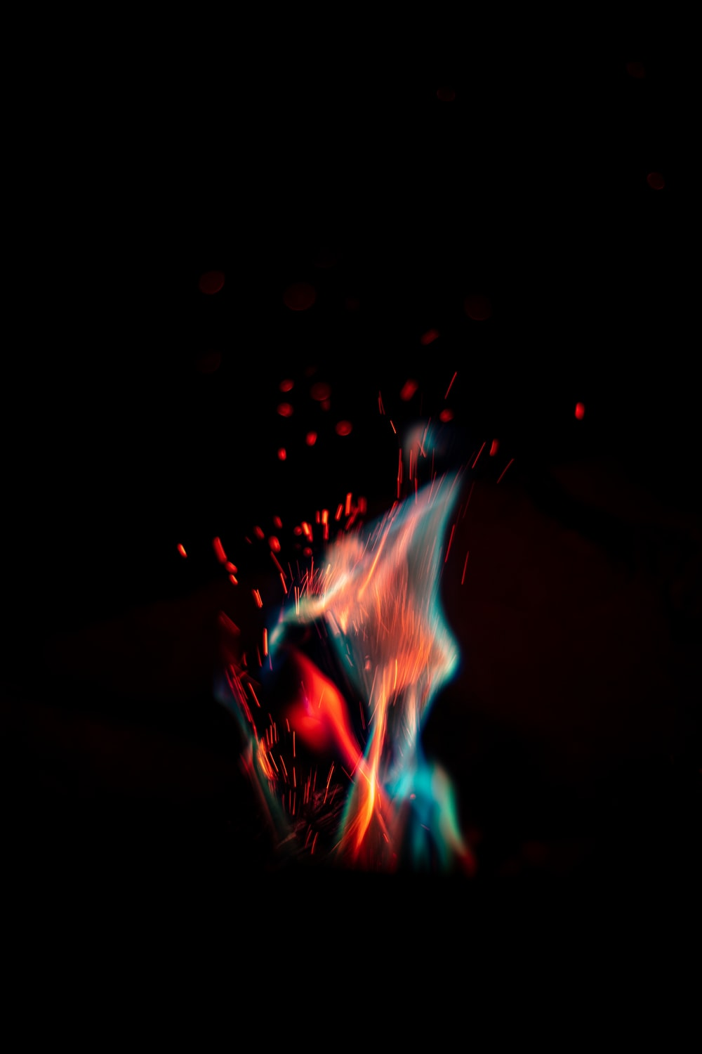 blue and red fire digital wallpaper