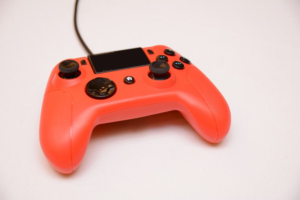 orange corded game controller