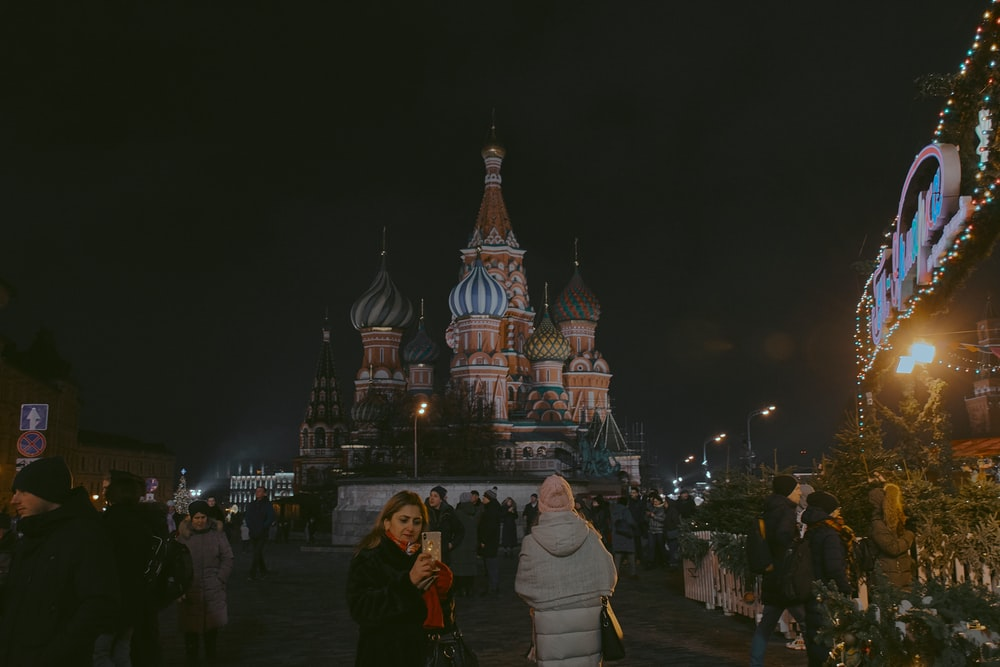 people standing near St. Basil's Cathedral