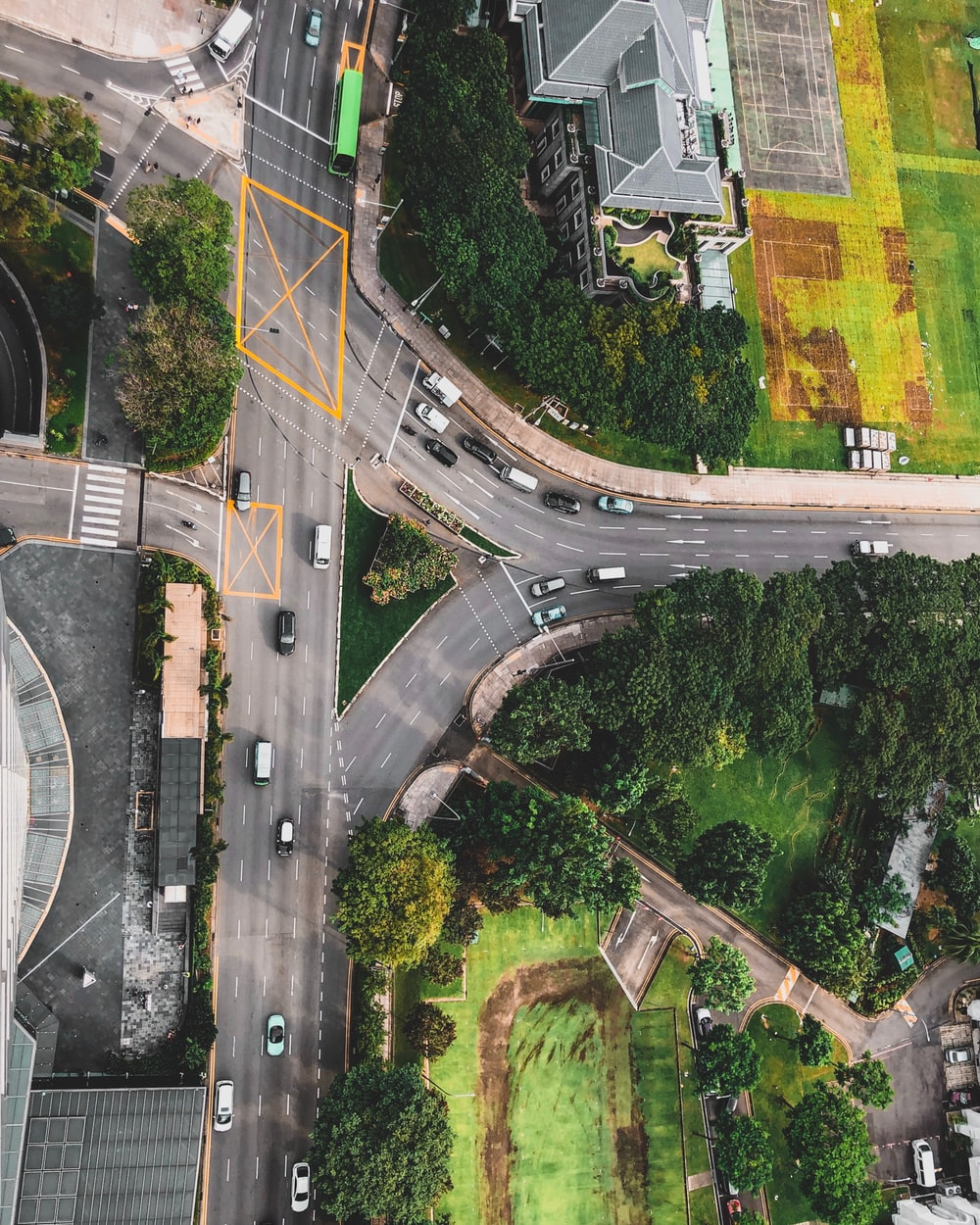 aerial photograph of road intersection