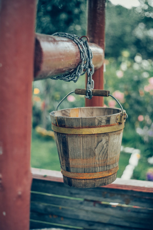brown bucket on log