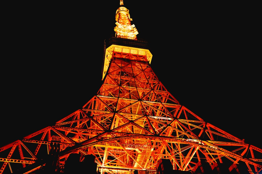 low angle view of lighted Eiffel Tower