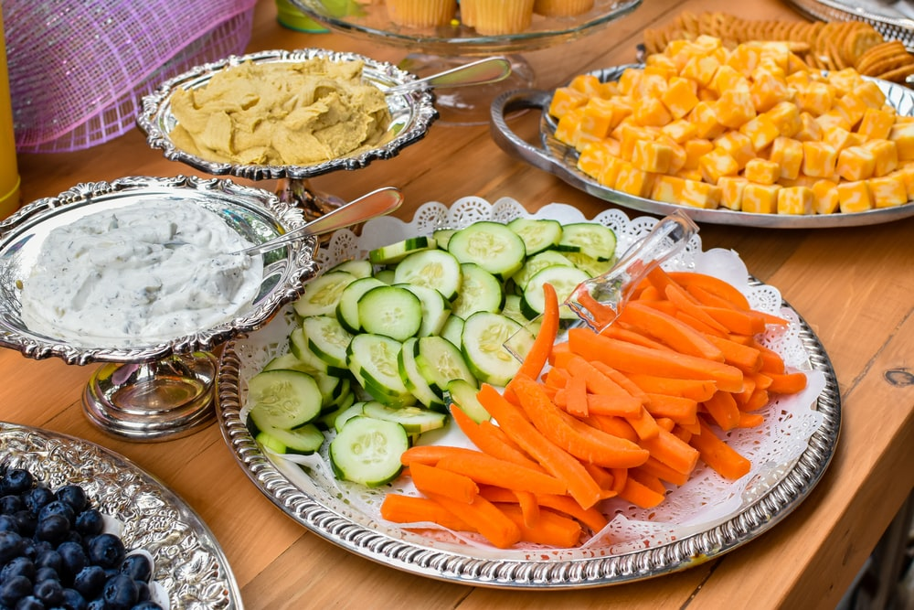 tray of food on wooden table