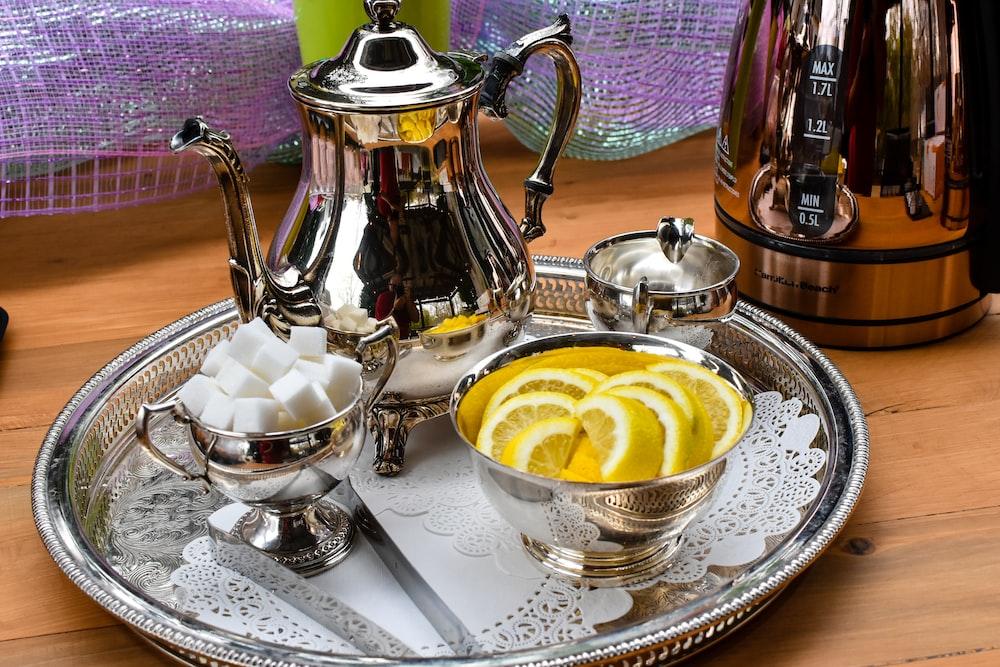 teapot set on tray