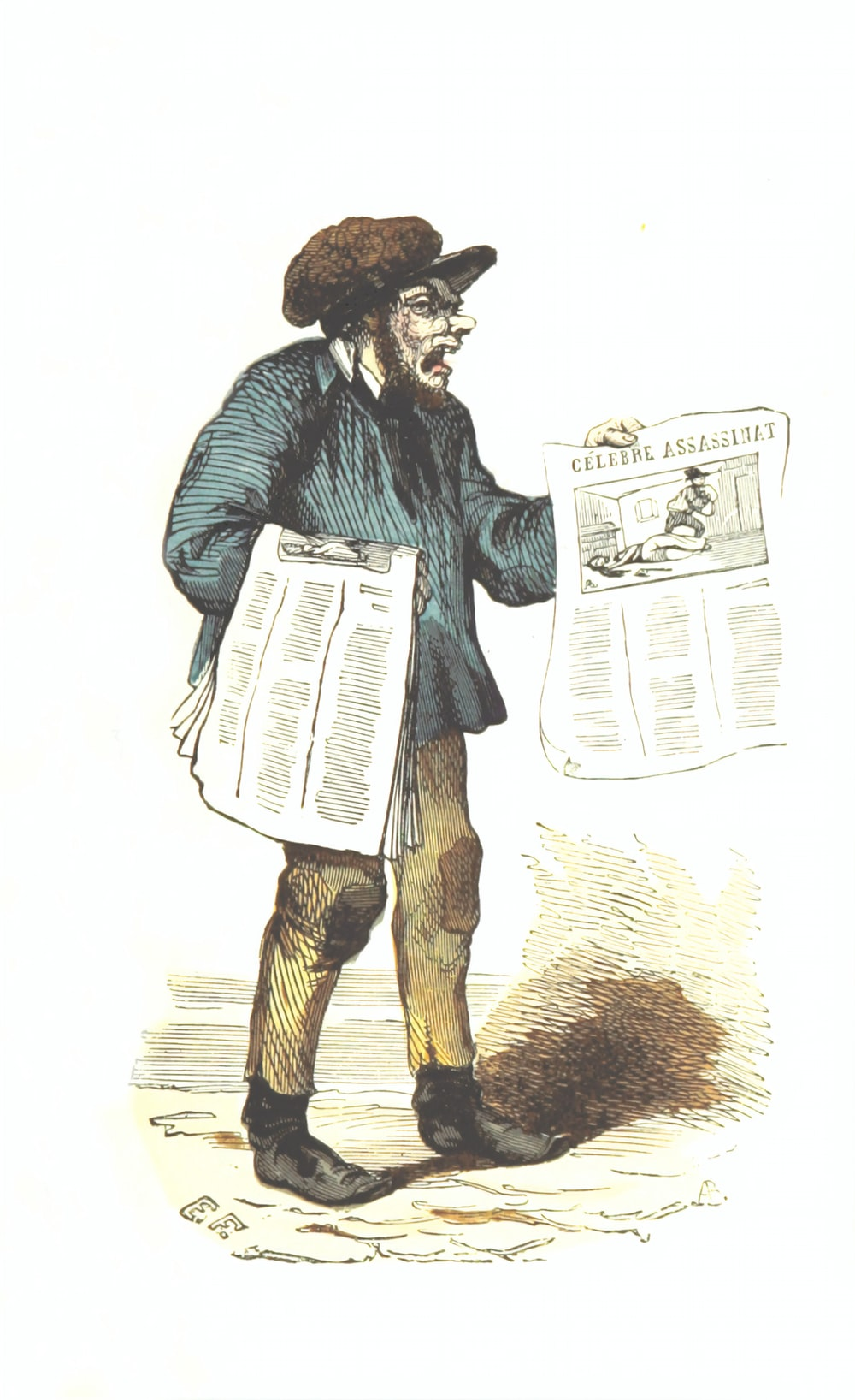 man holding newspapers painting