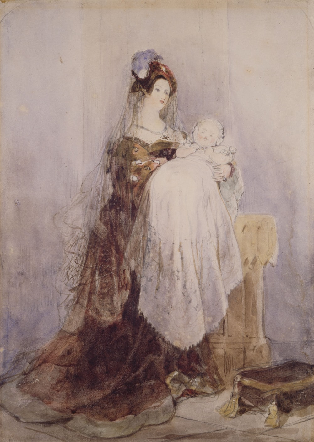 painting of woman carrying baby