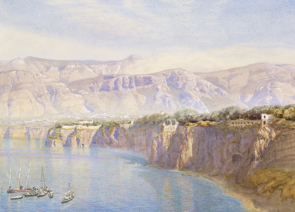 mountains near body of water painting