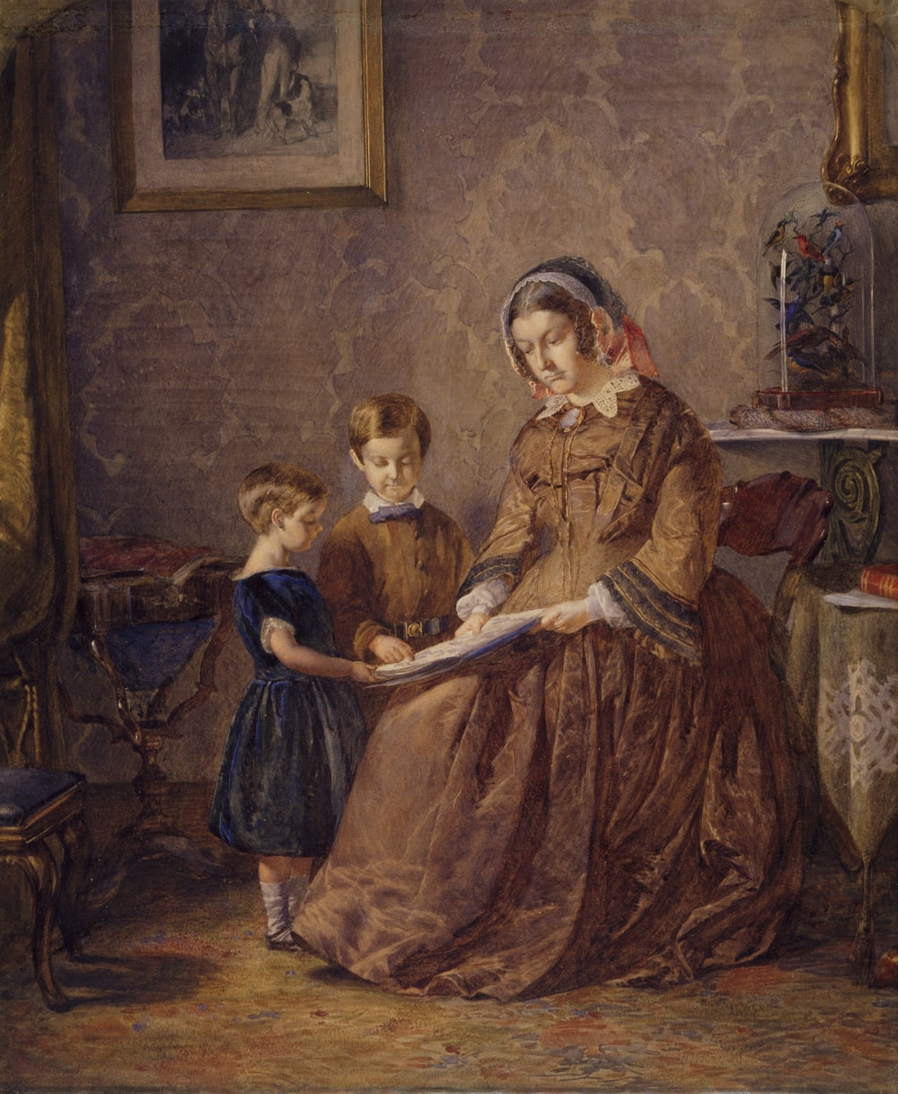 painting of woman near boy and girl