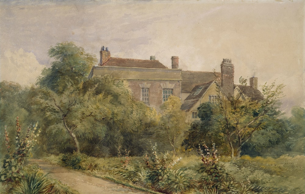 house surrounded by trees painting