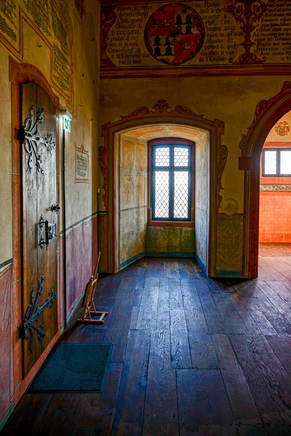 brown and yellow painted interior