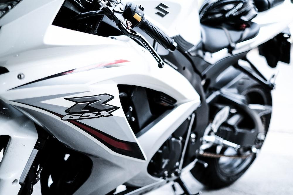 white Suzuki GSX motorcycle