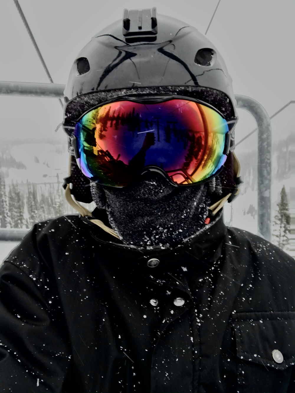 person wearing black goggles