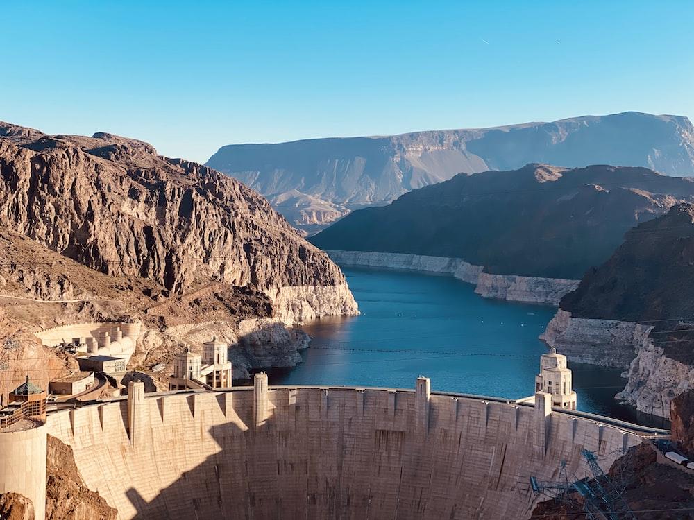 beige concrete water dam